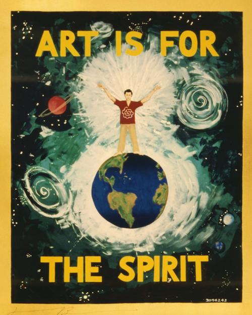 ジョナサン ボロフスキー『芸術は精神のために No.3094239』 1989 年 シルクスクリーン 170.2 x 138.4 cm