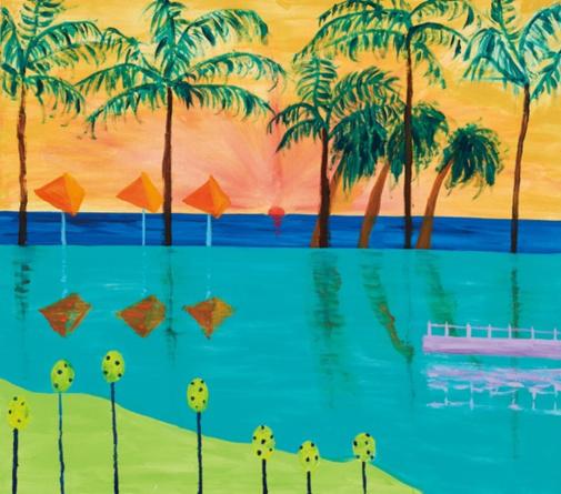 個展「マイ フェイバリット リゾート」は2020年、イセタンサローネにて。今年も渋谷西武などで絵画展の開催予定あり。「スリランカの夏休み」 2020 © Ellie Omiya, Courtesy of Tomio Koyama