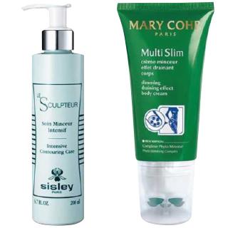 左から:脂肪分化を促し、セルライトのできにくい肌へ。インテンシブ コントアリング フォー ボディ[200ml] ¥23,100/Sisley(シスレージャパン 03-5771-6217) 血液循環を高めてむくみや老廃物を一掃。セルライト形成を防ぐ。マルチ マンスール[125ml] ¥9,350/MaryCohr(マリコール 03-5469-0056)