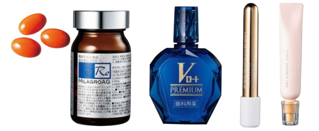 左から:瞳のためのサプリ。網膜の脂質DHAを補うアルガトリウムや、紫外線ダメージから守るルテインを配合。 ミラグロA G [90粒入り] ¥13,200/Rejuvenation(リジュべネーション 0120-3096-55) 疲れ目をケアしてクリアな目元に。Vロートプレミアム [15ml] ¥1,650/Rohto(ロート製薬 0120-880-610) 抜け落ちを防いで丈夫な毛へ育てる。シィル ブースター ラッシュ セラム ¥4,620/Lancôme(ランコム 0120-977-747) スキンケア感覚でまつ毛や眉毛に指で塗布。疲れた目元を巡りからケアする。 まつげ美容液 ¥1,650/Uzu(フローフシ 0120-963-277)