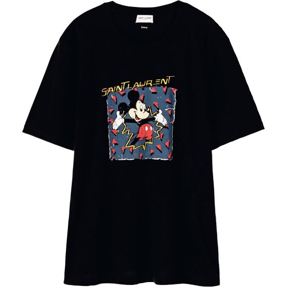 ミッキープリントTシャツ ¥50,600/Saint Laurent by Anthony Vaccarello(サンローラン クライアントサービス 0120-95-2746)