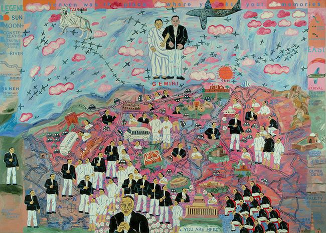 アルピタ・シン『私のロリポップ・シティ:双子の出現』 2005年 油彩、キャンバス 152.4×213.3 cm 所蔵:ヴァデラ・アート・ギャラリー(ニューデリー)