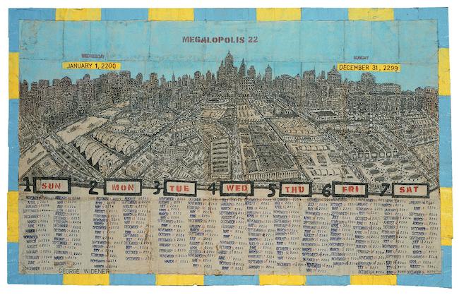 ジョージ・ワイドナー『Megalopolis』 2000-2010年  ミクストメディア、紙ナプキン 60.5×98cm ©collection abcd/Bruno Decharme
