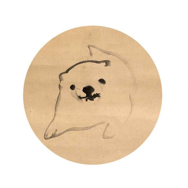 脱力感のあるゆるい雰囲気で見る人の心を癒やす子犬。作者の上田公長は紀州徳川家の御用絵師としても知られる。上田公長『子犬図』 ※