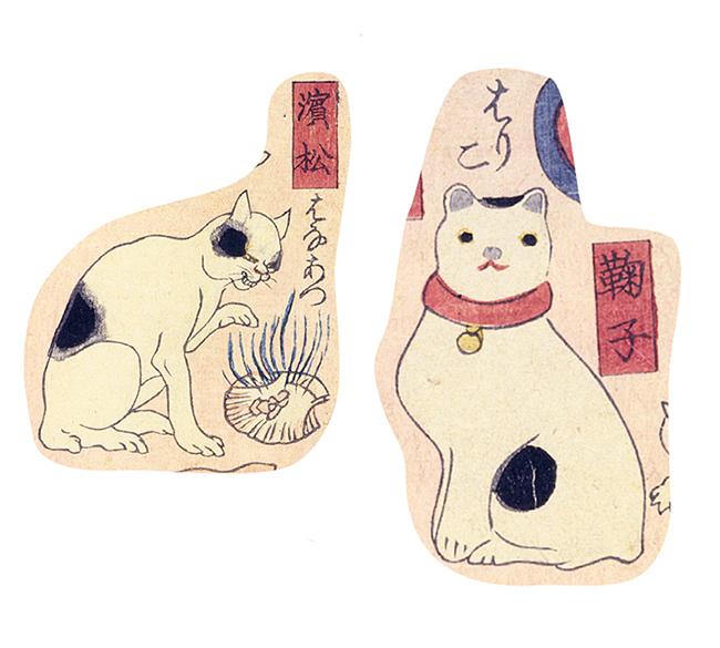 東海道の宿駅の名前にかけて猫のしぐさを表した、地口=ダジャレの効いた作品。歌川国芳『其まま地口 猫飼好五十三疋』ギャラリー紅屋蔵