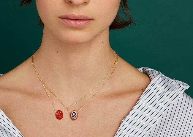 ドラゴンフルーツのネックレス(9KYG×珊瑚)¥92,400