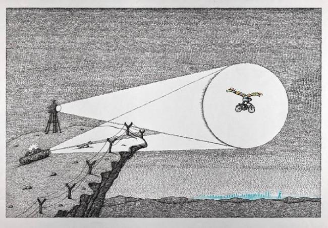 『かべ 鉄のカーテンのむこうに育って』原画 作家蔵(エリック・カール絵本美術館寄託) (2007年) ©Peter Sis, 2007