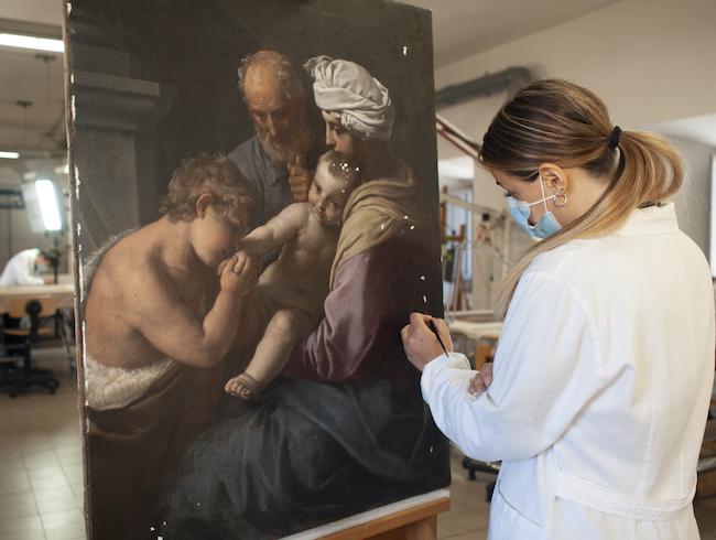 SAF絵画キャンバス実習室でのワークショップ 2021年 ©️ archivio Paola Ghirotti