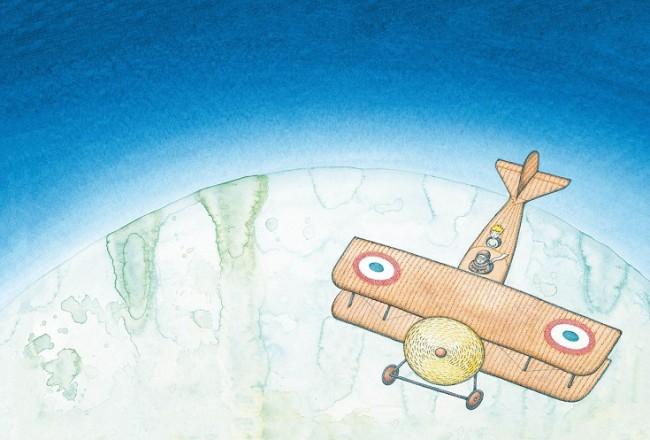 『飛行士と星の王子さま サン=テグジュペリの生涯』原画 作家蔵(エリック・カール絵本美術館寄託 (2014年) ©Peter Sis, 2014