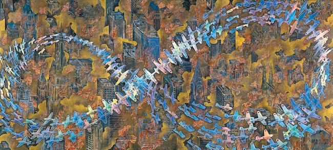 会田誠『紐育空爆之図(戦争画 RETURNS)』1996 年、高橋龍太郎コレクション 零戦CG制作:松橋睦生、撮影:長塚秀人 Photo: NAGATSUKA Hideto ©AIDA Makoto, Courtesy of Mizuma Art Gallery