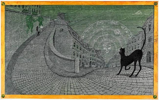 『三つの金の鍵 魔法のプラハ』原画 作家蔵(エリック・カール絵本美術館寄託) (1994年) ©Peter Sis, 1994