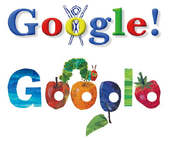 (上)記念すべき第1号Doodle、1998年8月30日「バーニングマン・フェスティバル」。<br /> (下)アーティストの作品より、エリック・カールが手がけた2009年3月20日「立春」。(図版提供:Google)