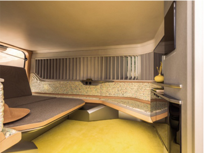 天然素材や和紙を多用した内装は60'sのヒッピースタイル。ベンチシートはベッドに。